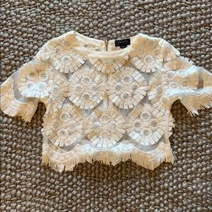 White Embroidered Top, Crop